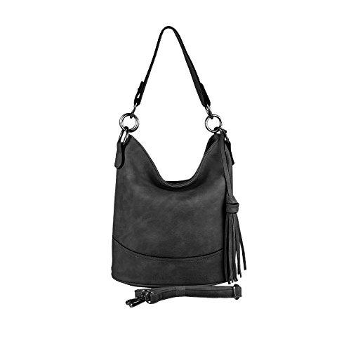 OBC Damen Tasche HOBO-Bag Metallic Shopper Umhängetasche Handtasche Schultertasche Henkeltasche Beuteltasche Crossover Tote-Bag (Schwarz 29x25x17 cm)