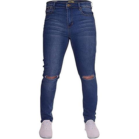 Da uomo isola Trading Ripped fessura ginocchio skinny elasticizzato Jeans da uomo Distressed Denim