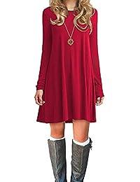 Durio Damen Einfaches Kleider Basic Casual A-Linie Skaterkleid Freizeit Kleider Fließendes Kleid Langarm Beiläufige Shirt Lose Rundhals Tunika