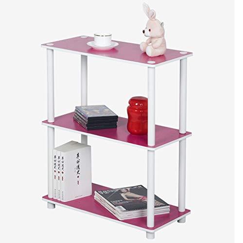 HUIQI Regal küche Regal LEQI dreischichtiges zweifarbiges Bücherregal einfaches Lagerregal küchenwagen mit Rollen (Color : Pink)