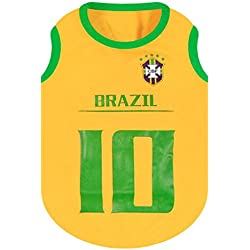 KayMayn - Camiseta de fútbol con licencia para perro, incluye 6 tallas, diseño de perro de fútbol, para disfraz de perros, para uso al aire libre, deporte, verano, transpirable, color BRAZIL, tamaño Large