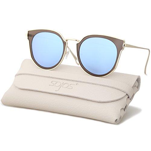 SOJOS Schick Klassische Retro Rund UV Schützen Polarisiert Sonnenbrille für Damen und Herren SJ1057 mit Gold Rahmen/Blau&Grau Linse mit Softe Packung