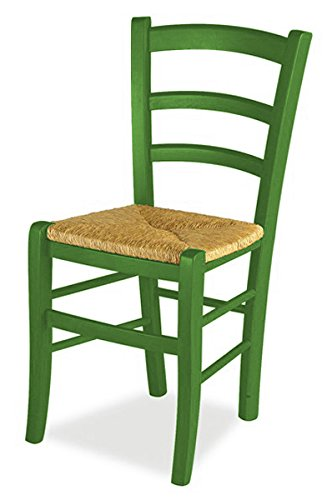 Mobili ilar set 2 sedie venezia - anilina verde scuro 129 sedile paglia