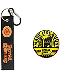 AVI Pin Badges With Royal Enfield & Techpro Premium Quality Cloth Locking Keychain With Doublesided Royal Enfield...