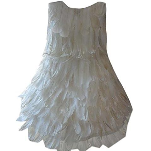Costume d'ange blanc pour fille, Blanc en plumes Argent Robe,