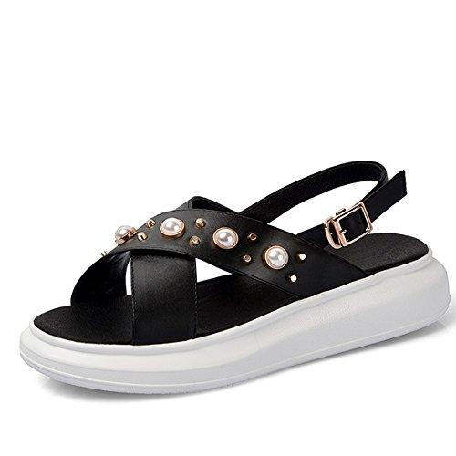 ZHANGRONG-- Pente de fond épaisse avec des sandales Chaussons féminins de mode sauvages Sandales féminines en cuir antidérapant (2 couleurs en option) (taille facultative) ( Couleur : B , taille : EU3 B
