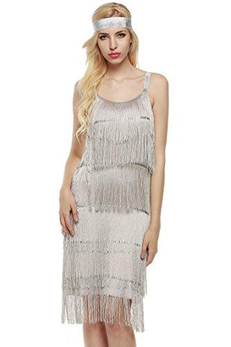 ton kleid mit stirnband 1920er Flapper Kleid fransenkleid Knielang Abendkleid, Silber, EU 40 (Herstellergröße XL) (Silber Flapper Kleid)