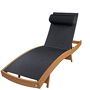 RS Trade 'Milano XXL' Outdoor Polyrattan Sonnenliege (stapelbar und bis 160 kg belastbar), reißfeste Textil Bespannung, 5-Fach verstellbare Lehne, Gartenliege inkl. Nackenrolle, Natur