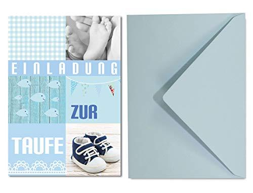Einladungskarten Set Taufe für Jungen / 8 Einladungen DIN A6in Hell Blau Pastell Tönen und 8 Umschläge in Hellblau / süße Einladung für Tauffeier Junge