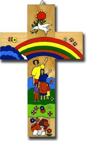 Croce in legno Arobaleno per prima comunione