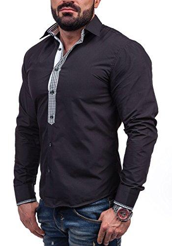 BOLF Langarm Herrenhemd Hemd Figurbetont Freizeit Slim Fit 6873 Schwarz