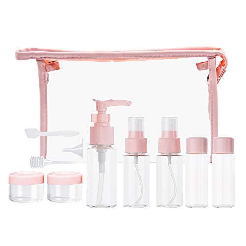 Tiang Lot de 11 récipients de voyage, Distributeur de savon liquide, pour shampooing, Cosmétique, Maquillage, avec sacs de rangement transparents, facile à transporter