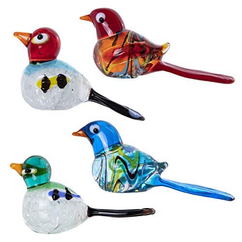 crystalsuncatcher - Juego de 4 Figuras de Cristal de pájaros para decoración del hogar