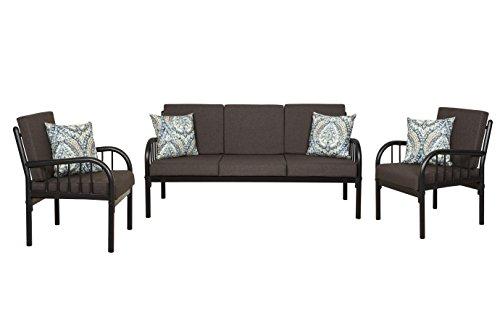 FurnitureKraft Clayton 3-1-1 Sofa Set with Mattress (Glossy Finish, Brown)
