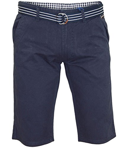 New Mens Kushiro City Casual Chino 100% Cotton Zip Fly Free Belted Beach Shorts French Navy