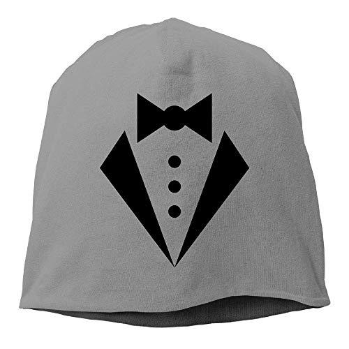 Top Level Beanie Hat Men Women Knit Hat Tuxedo White Cotton Skull Cap