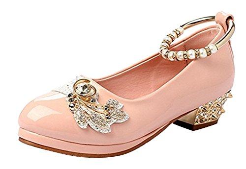 Brinny Fille élégante Chaussures à talon bas Bride cheville Bout Rond Princesse Ballerines Sandale fête Demoiselle d'honneur mariage avec perles faux diamant rivet pink