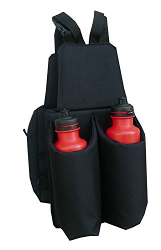 Satteltasche Doppelpacktasche mit 2 Getränkeflaschen, getrennt oder einzeln nutzbar robustes Nylonmaterial schwarz (Cordura-leder-satteltasche)