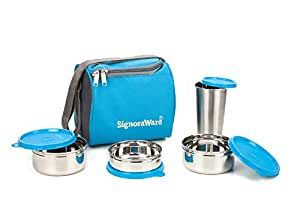 Signoraware Best Steel Lunch Box, Blue (500ml+350ml+200ml) | with Steel Tumbler 370ml