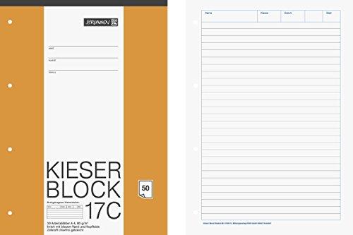 Brunnen 1042927 KIESER-Block Lineatur 21 (A4, 50 Blatt, liniert, 80 g/m², gelocht) - Block