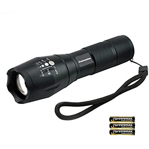 Coomatec SD-100 LED Torch Zoomable Tactical Flashlight 900 High Lumens Ultra Bright Militac Portable Outdoor Water Resistant Torch With Battery