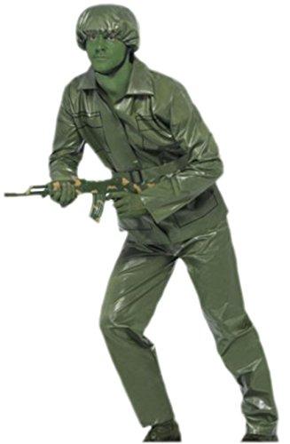 Confettery - Erwachsene Einfarbiges Spiel Soldat Kostüm, L, Grün (Dieb Spiel Kostüm)
