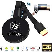 BSKDMAN WiFi Anzeige Dongle Wireless 2.4G 1080P Mini Display Receiver HDMI TV Miracast TV Stick DLNA Airplay für IOS Android Windowsn Mac Schwarz