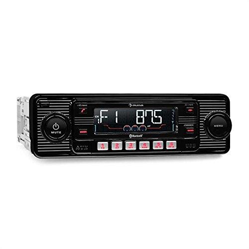 auna TCX-1-RMD - Radio para coche (elegante radio retro, Bluetooth, MP3, WMA,...