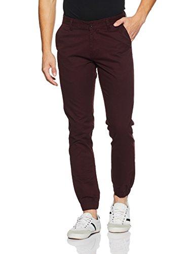 Diverse Men's Slim Fit Casual Trousers (DVT06T6L02-100_Maroon_30Wx 33L)