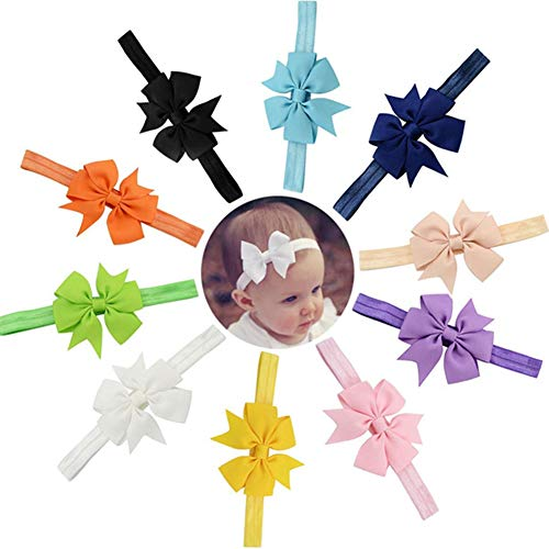 9 Stück Baby Haarband nettes Bowknot Stirnband Baby Mädchen Haar Bogen Bequeme Elastische Stirnbänder für Kleinkind Neugeborene Babys Alltäglichen Gebrauch und Foto Requisten Zubehör, Gemischte Farben