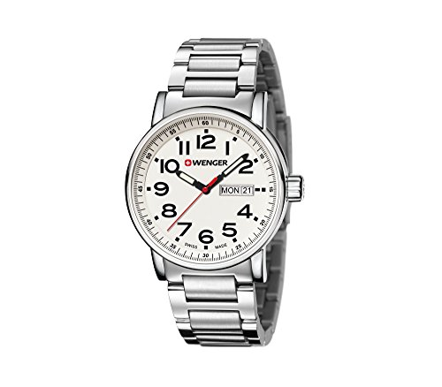 WENGER Unisex-Armbanduhr Analog Quarz Edelstahl 01.0341.102 silber (silber /Weiß)