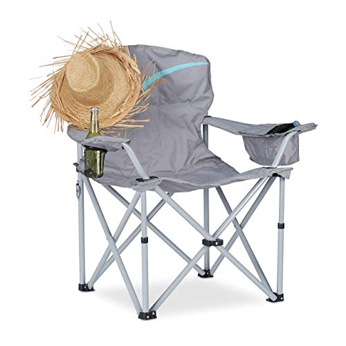 Relaxdays Campingstuhl klappbar, Anglerstuhl faltbar, Klappstuhl mit Getränkehalter & Tasche, HBT: 96 x 93 x 61 cm, grau