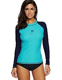 ATTRACO Womans Zip Rashgurad Swim Shirt Long Sleeve Rash Vest Swimming Top