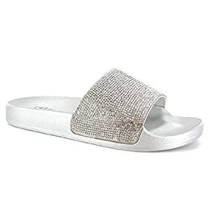 Girls Fur/Glitter Slider Flip Flops Size 10 11 12 13 1 2 Summer Holiday Beach Casual Wear (UK 11, Silver Glitter)