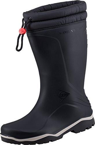 Dunlop Blizzard Inverno stivali di gomma unisex con fodera in pelliccia sintetica Black