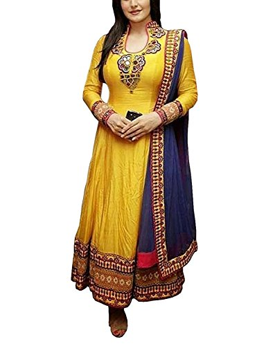 SiyaRam Women\'s Cotton Semi Stitched Anarkali Suit (HSFS-330_Yellow)