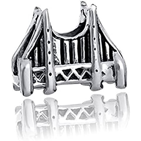 Original 925 argento perline Element USA/Golden Gate Bridge - massiccio 925 Argento Sterling Bead Element ponte in stile anticato per perline braccialetti #1567