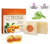 D'Rose Cosmetic Handgeschnittene Luxus-Aprikosen und Honig Natural seife (Antibakteriell, Ekzem,...