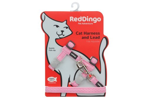 Red Dingo Designer Katzengeschirr und Leine, Adjustable, Love Sprinkles Pink