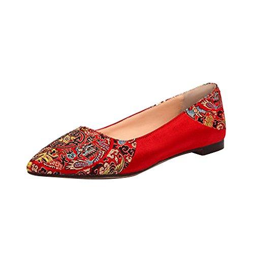 OCHENTA Femme Escarpins Mariage Rouge Talon Aiguille en Satin Elegant Rouge 2CM
