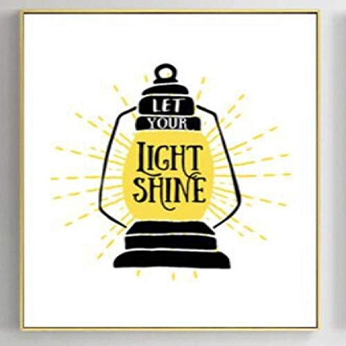 jzxjzx Líneas abstractas Amarillas decoración de Caballos Pintura Dibujos Animados Retro lámpara de Mesa Pintura Sala de Estar decoración Pintura núcleo 1 40 * 50 cm