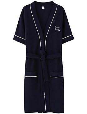 Bearony Suave Par de Verano de Manga Corta Albornoz de algodón Pijama de algodón Albornoz-Azul Oscuro (Color :...