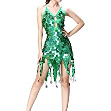 e58d383af3a0 Qianren Latin Dancewear per Ragazze Abito con Fasce Paillettes Abito da  Ballo con Frange Scintillanti