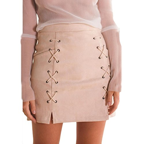 Kolylong Women Bandage Suede Fabric Mini Skirt Slim Seamless Stretch Tight Short Skirt (M, Pink)
