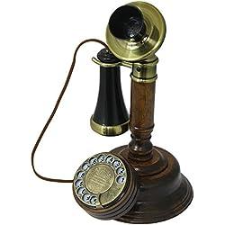 Télefono Retro/Teléfono Fijo Vintage con Cuerpo de Madero, Disco de marcar y Campana metálica