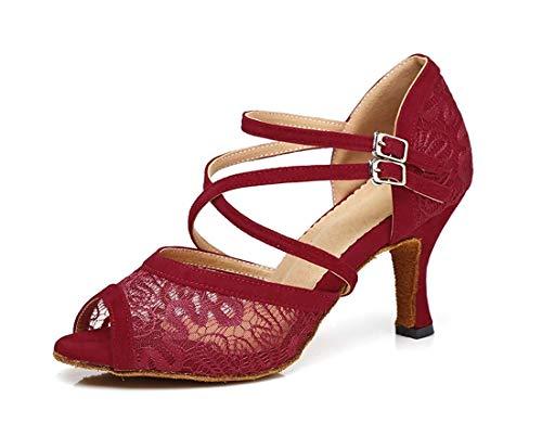 Willsego Correa de Tobillo con Malla Floral para Mujer Hebilla Stlietto  Tacones Zapatos de Baile Sandalias 9101fea9a9f
