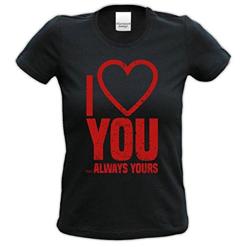 Geburtstagsgeschenk für Frauen Girlie T-Shirt mit Aufdruck:I love you Farbe: schwarz Schwarz
