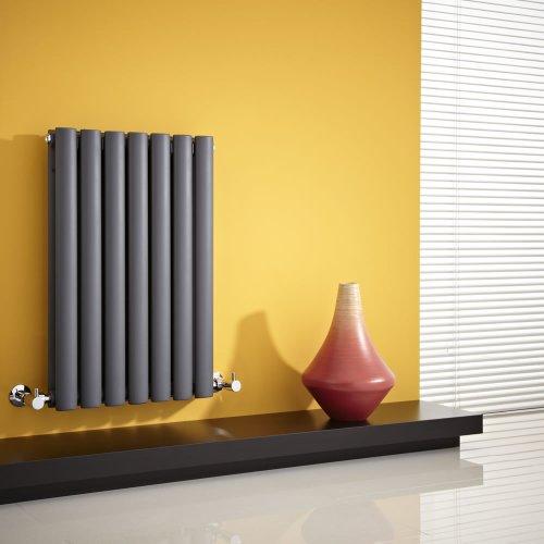 Milano Hudson Reed - Radiateur Chauffage Central Horizontal Design - Acier Gris Anthracite - 63.5 x 41.5cm - Double Rang