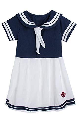 Sailor Kostüm Girl Hut - MOMBEBE COSLAND Mädchen Matrose Kleid Kostüm mit Hut (Navy Blau, 2 Jahre)