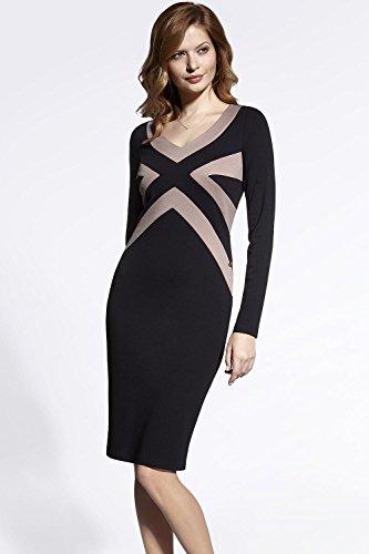 Enny 200054 Kleid Für Damen, Mini, Langarm, Business, V-Ausschnitt, Elegant, Wunderschön, Top Qualität, EU Schwarz-Beige